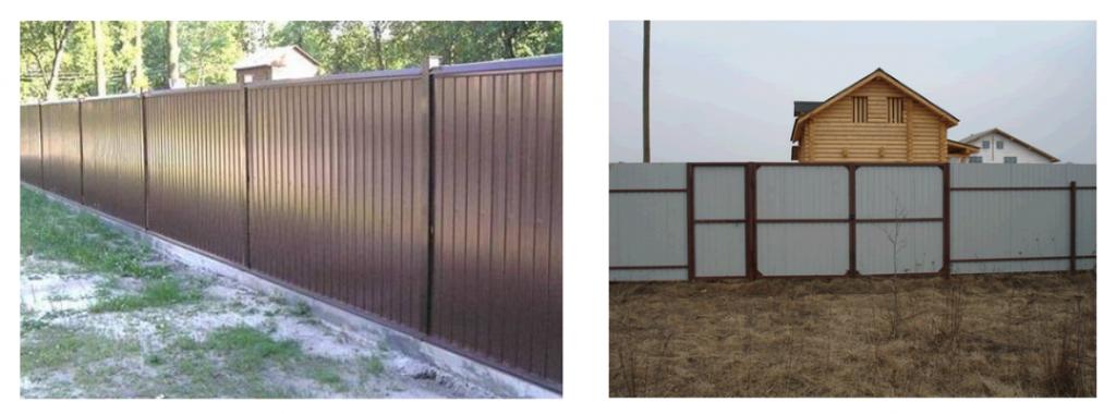 Готовый забор (вид спереди и сзади)
