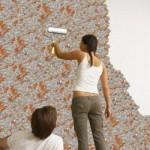Рисунок на потолке с помощью жидких обоев